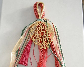 Boho Burgundy Velvet cord Wall Hanging wt Gold Pomegranate Ornament, Good luck charm New Year 2021, Home Protection family gift xmas, gouri