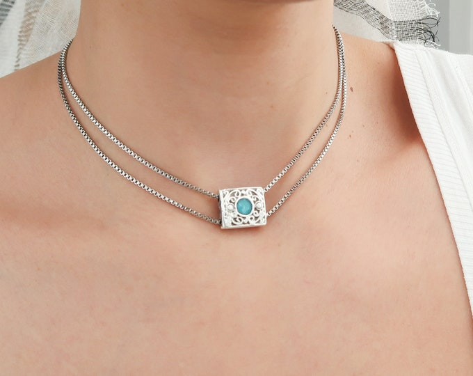 Double Silver box chain choker necklace with turquoise enamel square pendant, Native American Style Bohemian Delicate Contemporary Jewelry
