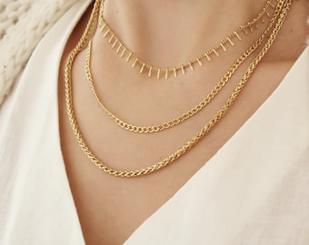 SET of THREE gold colour stainless steel specialty chains necklaces, layered stacking delicate modern bohemian dainty jewelry, gift for her