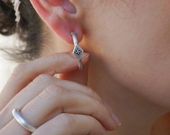 Silver Rhombus with a STAR Hoop Earrings, Thick Push back Open Hoop earrings, Minimalist Dainty Geometric Bohemian Celestial earrings, Gift