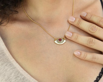 Gold EVIL EYE Protection Necklace, Gold Enamel Charm Jewelry, Good luck Iris Eye pendant, Gold Ottoman Turkish Jewelry, Cheap Gift for Her