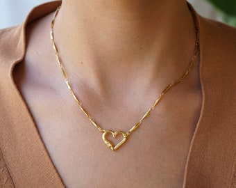 Dainty Gold HEART stainless steel bar linked chain necklace, Punk Rock Biker Style Modern jewelry, Trace chain necklace Cool gift for her
