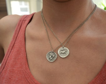 Replica of Greek Coin Charm, Nymph - Goddess Nike & Bull Neopolitis Stater Coin Necklace, Medallion Necklace, Tribal Ethnic Layering Jewelry