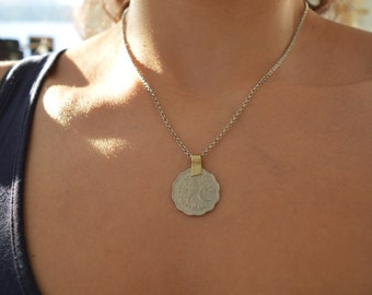 Silver Pakistan Coin Necklace, Vintage OOAK Kuchi Coin Medallion Necklace, Afghanistan Kuchi Pakistan Jewelry, Tribal Ethnic Coin Jewelry