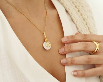 Gold wired Shell - Mother of Pearl pendant necklace, delicate coin layered stacking bohemian romantic love bridesmaid jewelry, gift for her