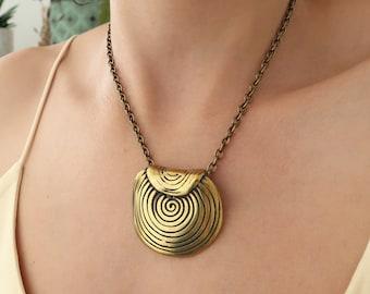 Ancient Greek Meander Symbol pendant Necklace, Boho Tribal Ethnic Greek Handmade Statement Bronze Semicircle Shield Jewellery, Gift for her
