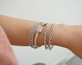 Bohemian Antique silver Thick or Thin TWIRL bangle cuff stacking bracelet, Arm Candy, ArmParty, Hippie Boho Cuffs Bangles Jewellery, Gift