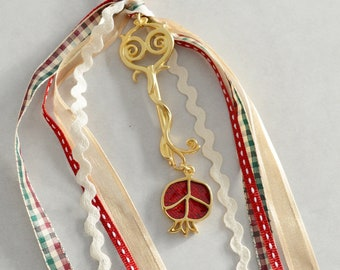 Wall Hanging wt Gold Skeleton Key Ornament & Small Burgundy Enamel Pomegranate, Good luck charm New Year 21, Home Protection gift xmas gouri
