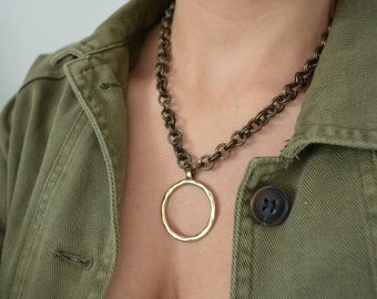 Hammered Brass Circle pendant necklace, Chunky brass chain choker necklace, Punk Rock Style Biker Bronze jewelry, Trace chain necklace