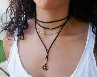 Black Leather Suede Wrap Choker Necklace, Leather Gold Coin Pendant Necklace, Leather Wrap Choker, Wrap Necklace, Bohemian Silver Jewelry