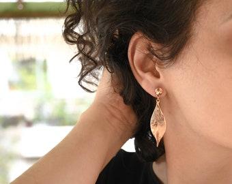Rose Gold LEAF charm earrings, Rose Gold dangling drop earrings, Rose Gold Stud Leaf Earrings, Bohemian Rose Gold Bridesmaid Earrings Gift