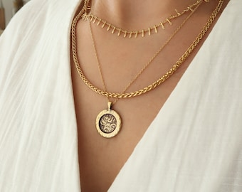 Antique Gold Engraved Floral Coin Pendant Necklace Jewelry, Greek Coin Layering Medallion Bohemian Minimalist Stacking Jewelry, Gift for Her