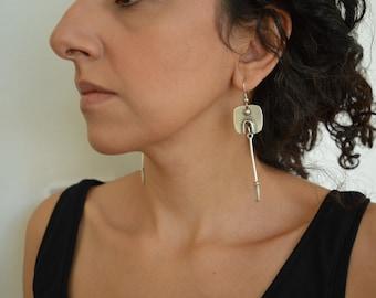 Antique silver long bar earrings, Geometric Abstract Square Arrow Drop Earrings, Bohemian Boho Dainty Hippie Free People style jewellery