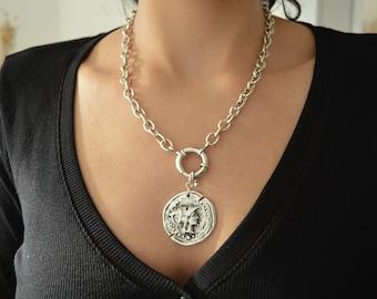 Silver Chunky chain choker Athena Goddess necklace, Round Clasp Steel Punk Rock Biker jewelry, Trace chain necklace, Ancient Greek Jewelry