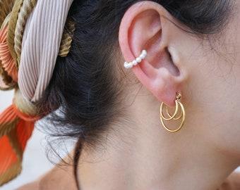 Gold Thick Triple Asymmetrical Hoop Earrings, Large Chunky Multi Hoops, Stainless steel Earrings, Dainty Geometric Trend Minimal Boho Modern