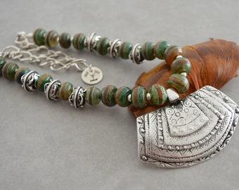 Bohemian Khaki Tibetan Dzi beaded Silver ORTHOGONAL Shield Pendant Necklace, Tribal Ethnic Statement Modern Dainty Jewelry, Gift for her