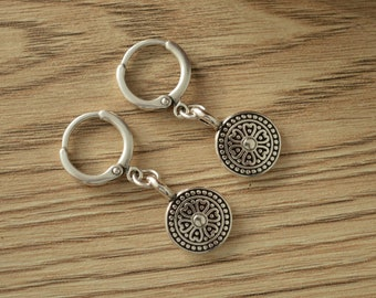 Antique Silver Leverback Hoop Earrings with flower coin charms, Latch Back Hoop Earrings, Minimalist Geometric Dainty Trend minimal earrings