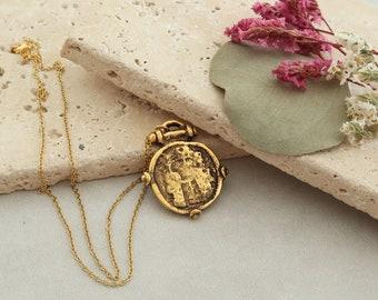 Gold Replique of Ancient Byzantine Coin Necklace Jewellery, Medallion Necklace, Ancient Greek Inspired, Christian Ethnic Layering Jewelry