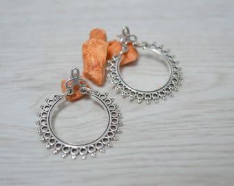 Antique silver dangling half moon Ornate Hoop Drop crescent earrings, Silver dangle earrings, boho/ bohemian gypsy tribal ethnic earrings