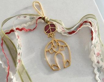 Wall Hanging wt Filigree Gold Horseshoe Ornament & Small Burgundy Enamel Pomegranate, Good luck charm New Year 2021, Home gift xmas, gouri