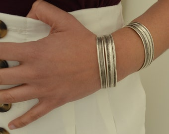 Antique silver engraved LINES cuff stacking bracelet, Arm Candy,Bohemian Cuff Bangle Bracelet Jewellery, Gift for her, US wrist 6-7.5 inches