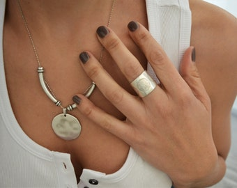 Silver Minimal Engraved Circles Ring, Thick Band Ring, Bohemian Flower Mandala Sacred Peace Yogi Gypsy Minimialist Jewellery, US 6.5-7.5inch