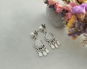 Antique Silver Ball Dreamcatcher Earrings, Dangle Drop Teardrop Dangling Push Back Earrings, Native American Navajo earrings, Tribe jewelry