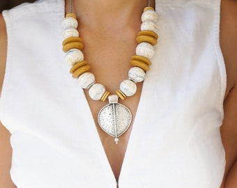 Large Colourful WHITE - MUSTURD Ceramic Beaded Necklace with Shield Pendant, African Moroccan Earthy style, Ethnic Tribal Statement Jewelry