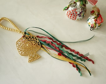 Boho Burgundy-Green cord Wall Hanging wt Gold Pomegranate Ornament, Good luck charm New Year 2021, Home Protection family gift xmas, gouri