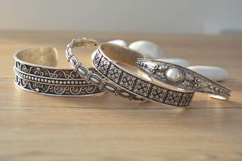 Bohemian Antique silver SQUARE CROSS bangle cuff stacking image 1