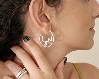 Antique Silver wireframe MONKEY Hoop Earrings, Thick Push back Modern Cool Minimalist Dainty Geometric animal earrings, Trend, Gift for her
