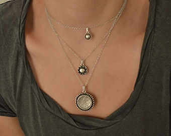 Set of three silver round coin charms necklaces, layered layering stacking stacked boho bohemian dainty hippie layers jewelry, gift for her
