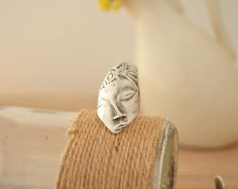 Replica of Archaeological Finds Ring Jewellery, Archaeological Face Ring, Adjustable Stackable Silver Statement Ring, Ancient Greek Jewelry