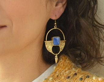 Antique bronze dangling Hollow SHIELD earrings with Blue Enamel, Brass dangle earrings, bohemian earrings, tribal ethnic, brass jewelry