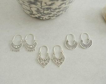 Antique silver Hollow Semicircle Geometric Hoop earrings, Dangling Delicate Ethnic Tribal Gypsy Boho Bohemian earrings, jewelry gift for her