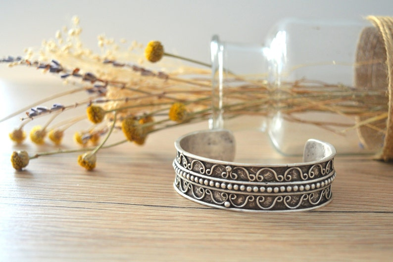 Bohemian Antique silver DOTTED bangle cuff stacking bracelet image 1