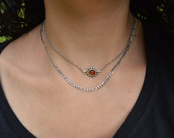 Amber gemstone choker & stainless steel figaro chain, sun charm coin necklace, layered stacking bohemian dainty hippie jewelry, gift for her
