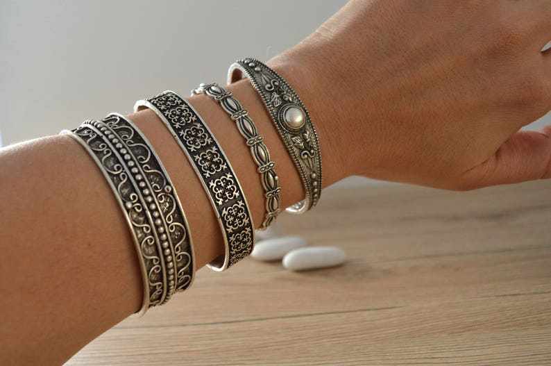 Bohemian Antique silver PEARL bangle cuff stacking bracelet image 1