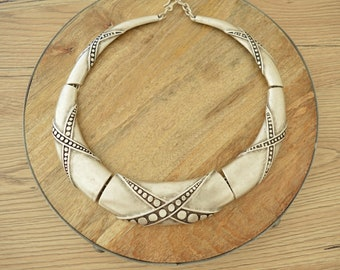 Silver Berber Torque Style Statement Collar Necklace, Short Silver Choker,African Ethnic Moroccan Jewelry, Tribal African, Mother's Day gift