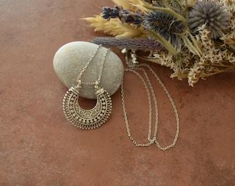 Bohemian Steel Turkish Statement Semicircle Pendant Necklace, Ethnic Tribal Turkish Crescent Filigree Dainty Hippie Boho Gypsy Jewelry, Gift