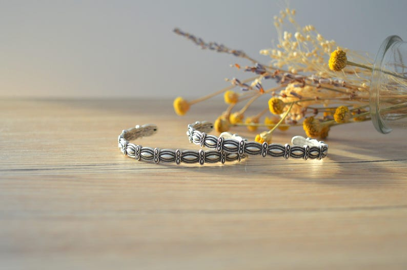 Bohemian Antique silver OVAL bangle cuff stacking bracelet image 1
