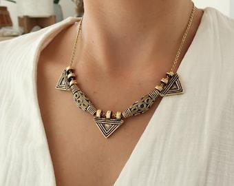 Antique Gold Ethiopian Telsum Style Necklace, Bohemian Bib Statement Ethnic Amulet Tribal Jewelry, Banjara Indian Inspired Style, Gift