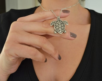 Antique Silver TURTLE Necklace, Animal Medallion Good Health Protection Lucky Charm Necklace, Bohemian Gypsy Layers Native American Jewelry