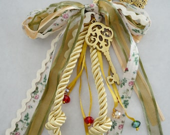 Boho Gold Velvet cord Wall Hanging wt Bronze Skeleton Key, Good luck charm New Year 2021, Home Protection family gift xmas deco, gouri