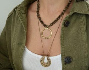 Long Brass Flower of Life necklace, Minimal boho bronze brass jewelry, Indian inspired Mandala pendant statement necklace, summer jewelry