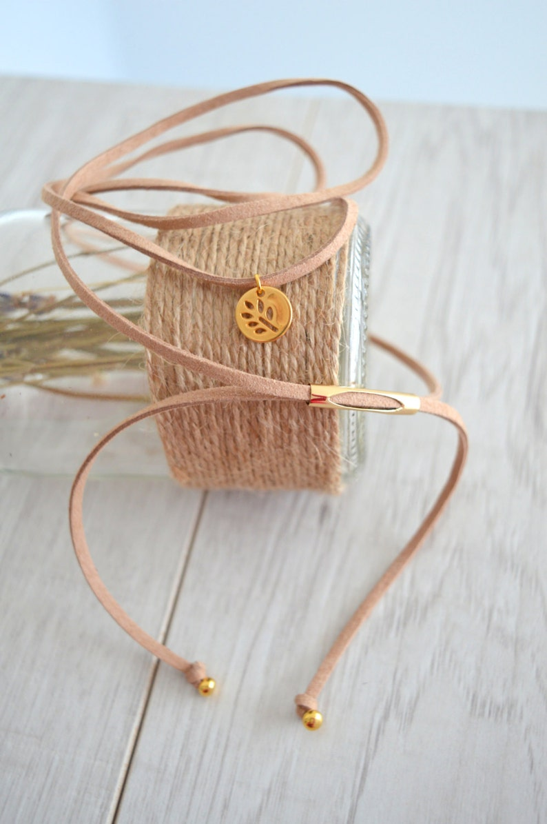 Wrap Suede Choker Tie Up Bolo Necklace Beige suede choker with gold coin leaf charm Bohemian Summer Ibiza Necklace Jewelry