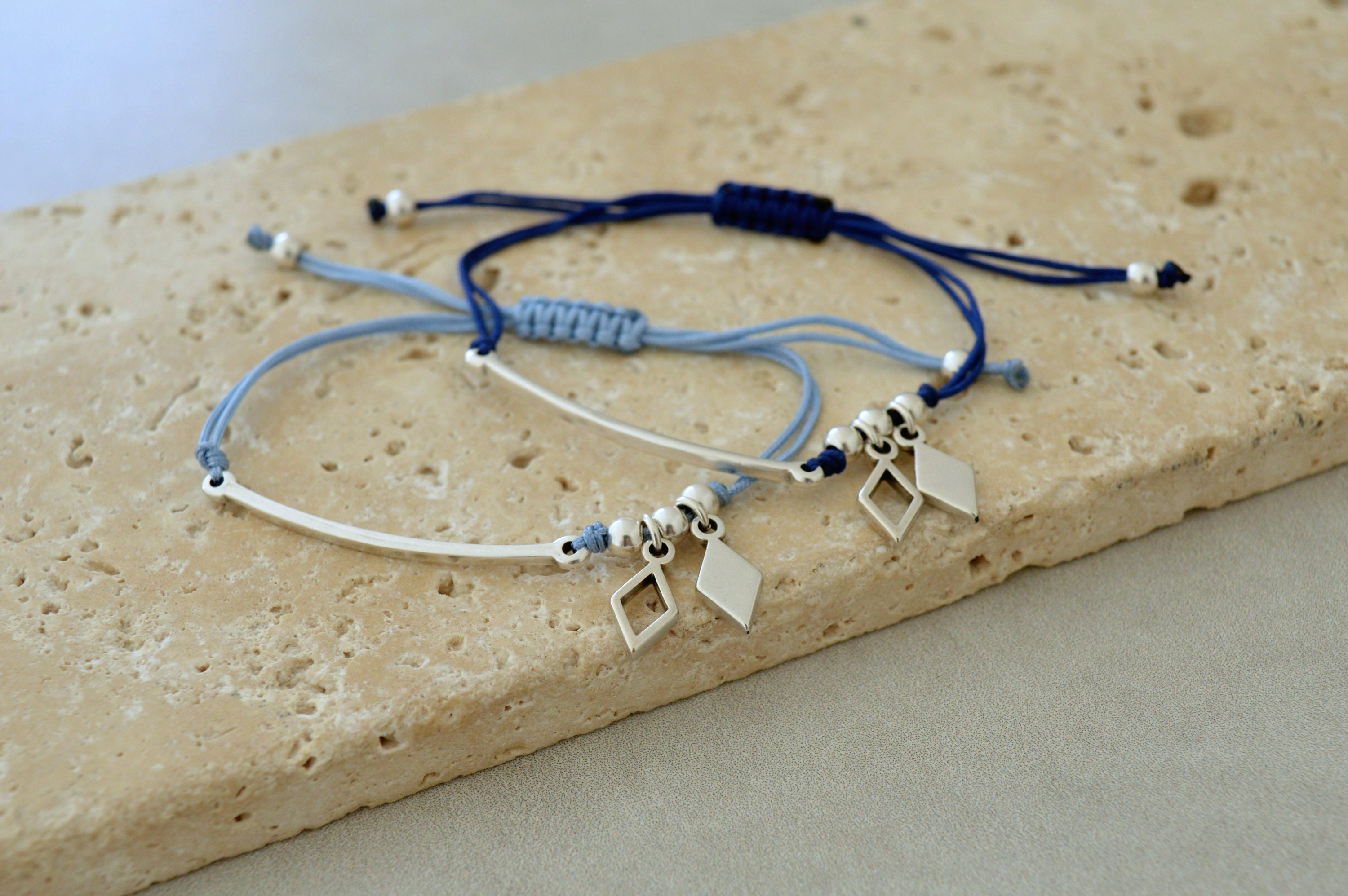 geometric minimalistic bracelet minimal jewelry affordable gift for her Thin Silver hammered bar connector macrame adjustable bracelet