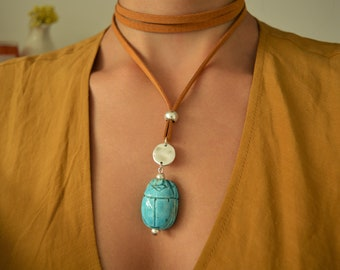 Turquoise Scarab Wrap Necklace Choker, Eternity Symbol Necklace, Mustard Tie up Bolo Choker, Native American Indian Navajo Necklace Jewelry