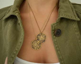 Antique Gold Necklace with Egyptian Coin Replica, Gold Coin Charm Disc, Bronze Layering Medallion, Bohemian Minimalist Jewelry, Gift for Her