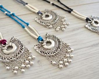 Bohemian Silk cord shield tassel necklace, Ethnic Tribal Gypsy Necklace, Contemporary chain tassel necklace, Afghan Kuchi Banjara Necklace